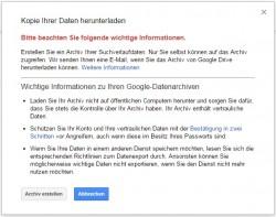 Warnung: Google Suchdaten herunterladen (Screenshot: ZDNet.de)