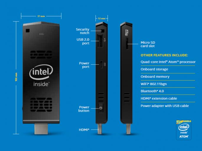 Der Intel Compute Stick ist mit Windows 8.1 oder Ubuntu 14.04 LTS erhältlich (Bild: Intel).