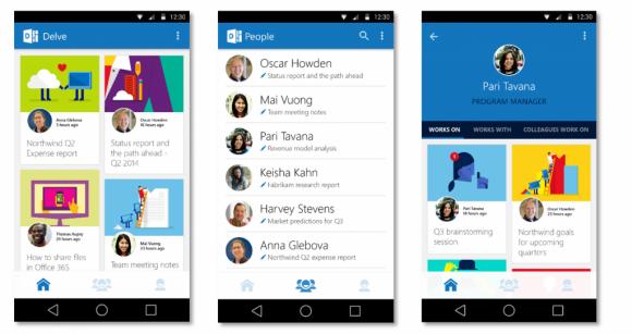 Microsoft hat native Android- und iOS-Apps für sein Kollaborationswerkzeug Delve veröffentlicht (Bild: Microsoft).