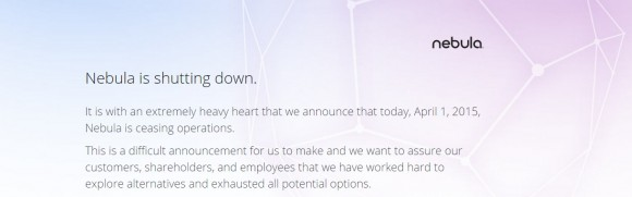 Leider kein Aprilscherz: Nebula stellt den Betrieb ein (Screenshot: ZDNet.de)