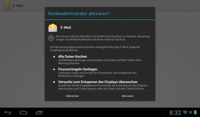 Sind im Office 365-Postfach Sicherheitsrichtlinienhinterlegt, lassen sich diese auch auf den Endgeräten umsetzen, sobald die Anbindung erfolgt (Screenshot: Thomas Joos).