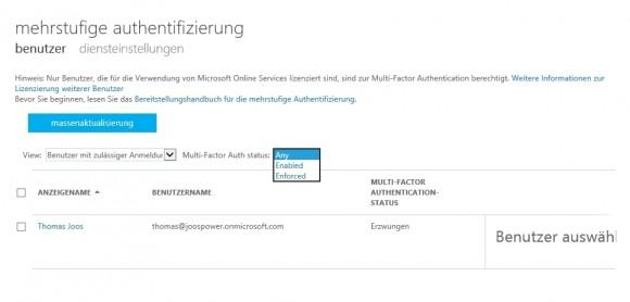Office-02 Mit der Mehrwege-Authentifizierung erhöhen Administratoren die Sicherheit für Benutzer in Office 365 (Screenshot: Thomas Joos).