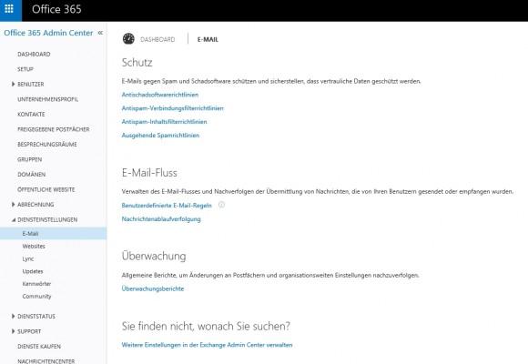 Office-06 Im Bereich E-Mail lassen sich in der Administrator-App von Office 365 zahlreiche Sicherheitseinstellungen vornehmen (Screenshot: Thomas Joos).