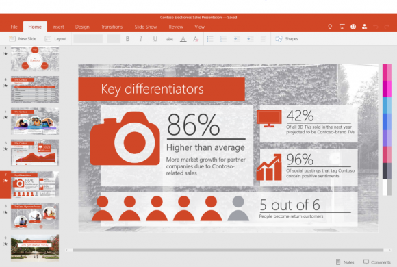 PowerPoint Universal für Windows-Tablets (Bild: Microsoft).