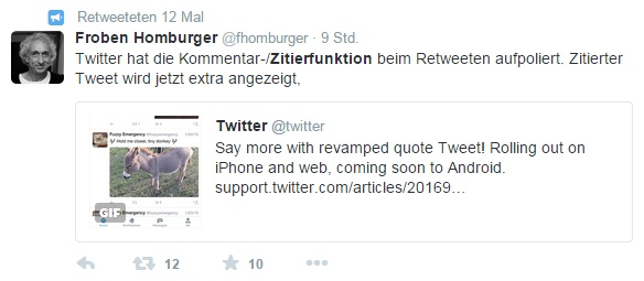 Retweet als Zitat in Twitter für Web (Screenshot: ZDNet.de)