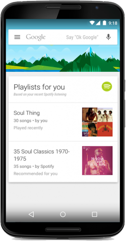 Spotify-Card in Google Now (Bild: Google)