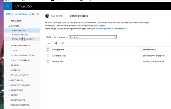 Die Benutzerverwaltung erlaubt das schnelle und komfortable Anlegen neuer Benutzer in Office 365 (Screenshot: Thomas Joos).