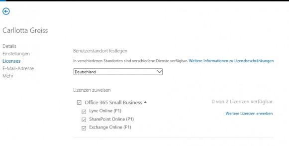 Für jeden Benutzer können Unternehmen steuern welche Funktionen er nutzen darf und welche Cloud-Funktionen freigeschaltet werden (Screenshot: Thomas Joos).