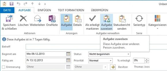 Mit der Aufgabenverwaltung können Anwender sich gegenseitig Aufgaben zuteilen und deren Verlauf verfolgen (Screenshot: Thomas Joos).