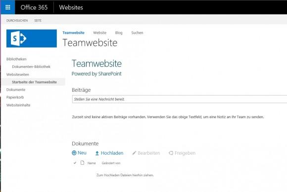 Team-07 Über die Teamseite können Anwender im Team Dokumente austauschen, hoch- und herunterladen (Screenshot: Thomas Joos).