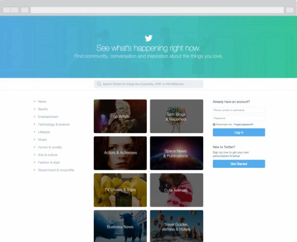 Die neue Landing-Page zeigt Twitter anfänglich nur Nutzern in den USA an (Screenshot: Twitter).