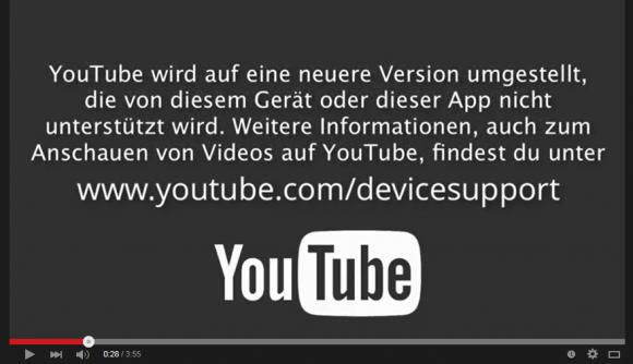 Hinweis auf das bevorstehende Support-Ende für ältere Geräte (Bild: Youtube).
