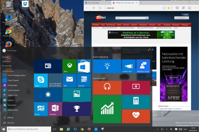 Surface Pro 3: Flottes Arbeitstempo auch mit Windows 10 (Screenshot: ZDNet.de)