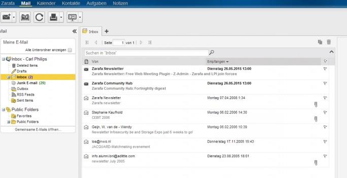 Zarafa bietet eine übersichtliche Web-Oberfläche, die ständig weiter entwickelt wird (Screenshot: Thomas Joos).
