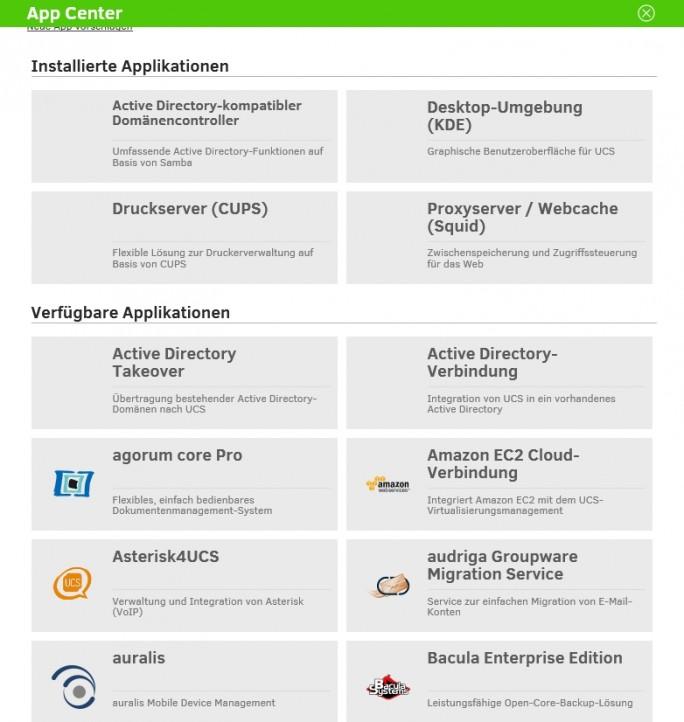 Im Appcenter von UCS lassen sich auch Erweiterungen für Zarafa und Zimbra herunterladen und installieren (Screenshot: Thomas Joos).