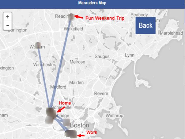 Über Facebook Messenger gesammelte Standortdaten eines Nutzers (Bild: Aran Khanna).