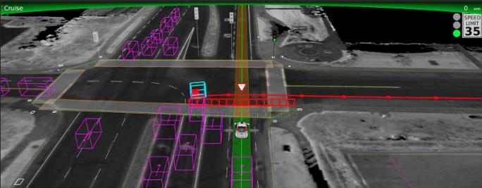 In dieser Situation erkannte das Google-Auto den bei Rot fahrenden Radfahrer und verzögerte selbständig die Weiterfahrt (Bild: Google).