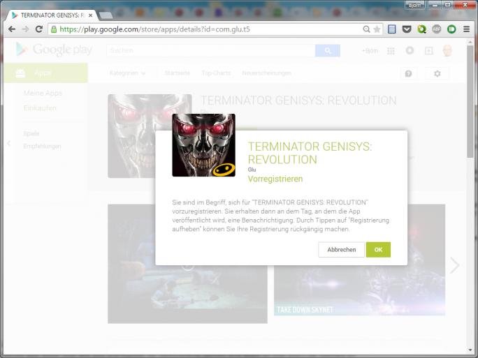 Google Play erlaubt jetzt Vorregistrierungen für noch nicht veröffentlichte Apps (Screenshot: ZDNet.de).