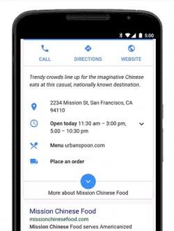 Restaurant mit Bestelloption in der Mobilsuche (Bild: Google)