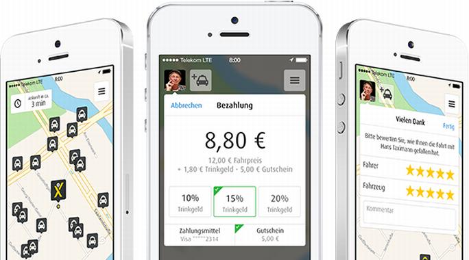 Mit der mytaxi-App lassen sich Taxifahrten buchen und auch gleich bezahlen (Bild: mytaxi).
