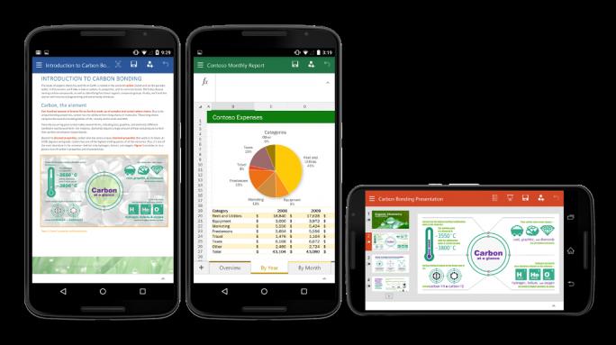 Office für Android-Smartphones umfasst Word, Excel und PowerPoint (Bild: Microsoft).