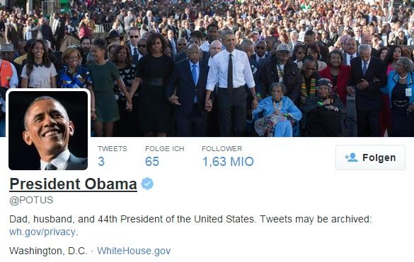 Das Twitter-Konto @POTUS ist amtsgebunden (Screenshot: ZDNet.de)