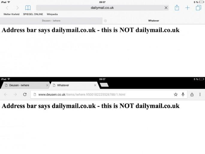 Unter iOS 8.3 zeigt Safari beim Aufruf einer manipulierten Website die falsche URL an, Chrome jedoch die korrekte (Screenshot: ZDNet).
