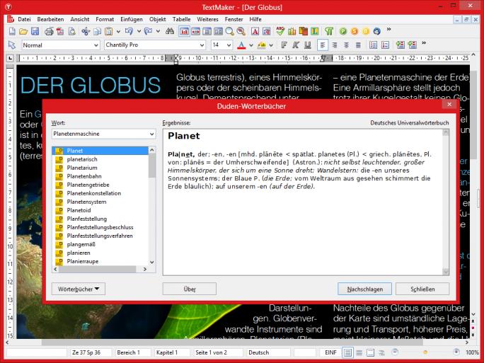 Die Professional-Version von SoftMaker Office 2016 für Windows umfasst diverse Wörterbücher von Duden und Langenscheidt (Bild: SoftMaker).