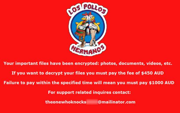 Die Lösegeldforderung der Erpresser zeigt unter anderem das Logo des Schnellrestaurants Los Pollos Hermandos aus der Serie Breaking Bad (Screenshot: Symantec).