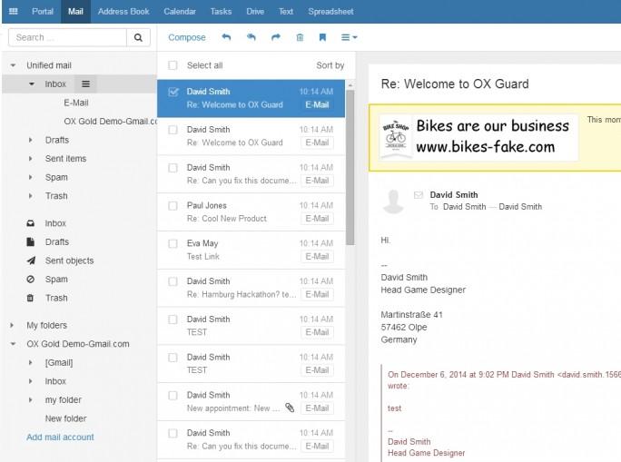OX App Suite lässt sich online testen und bietet eine intuitive webbasierte Oberfläche (Screenshot: Thomas Joos).