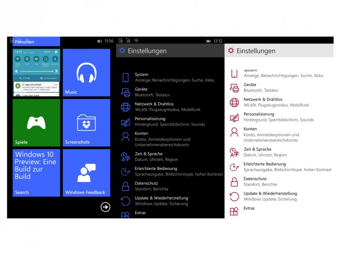 Windows 10 Phone (Screenshot: ZDNet.de)