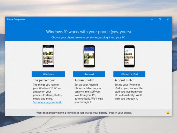 Die Phone-Companion-App  für Windows 10 hilft Nutzern dabei, ihr iOS- oder Android-Gerät mit ihrem PC zu verbinden (Bild: Microsoft).