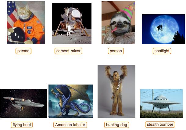 Bei zu ausgefallenen Objekten hat das neue Wolfram-Tool noch Probleme, Bildinhalte korrekt zu identifizieren (Bild: Wolfram).