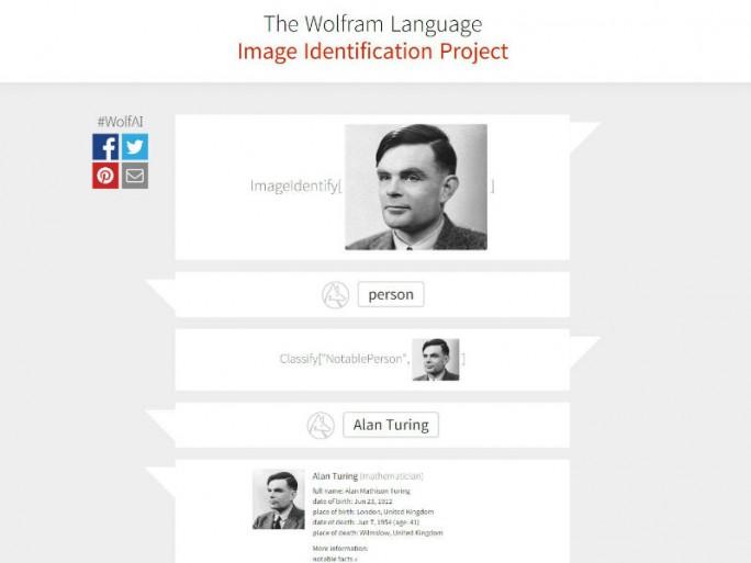 Das Wolfram Language Image Identification Projekt liefert Zusatzinformationen zu erkannten Bildinhalten wie hier am Beispiel von Alan Turing (Bild: Wolfram)
