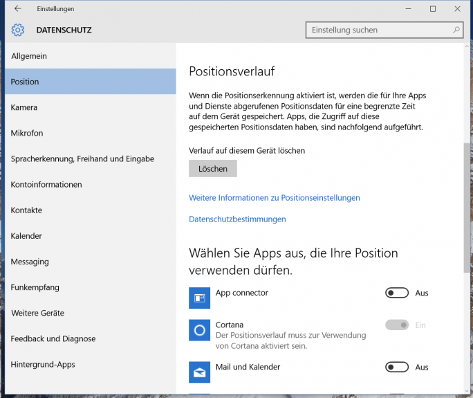 Der Positionsverlauf lässt sich in Windows 10 in den PC-Einstellungen festlegen (Screenshot: Thomas Joos).