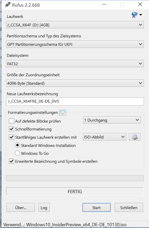 Rufus 2.2: UEFI-Boot-Stick erstellen (Screenshot: ZDNet.de)