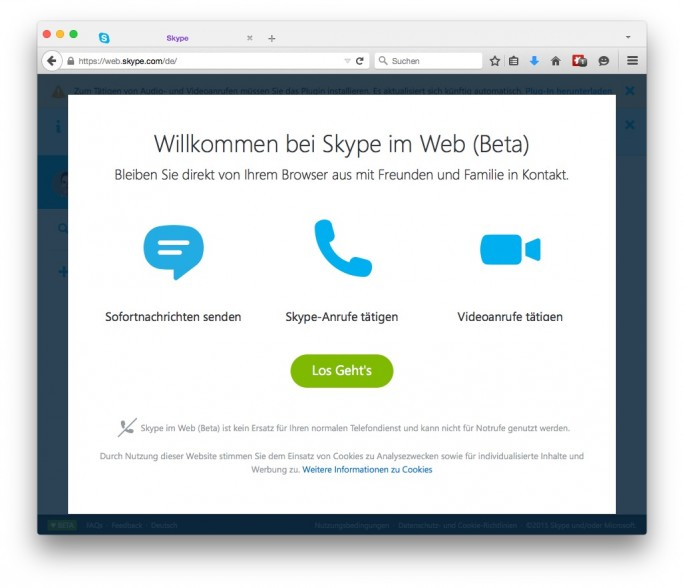 Skype im Web (Screenshot:  ZDNet.de)