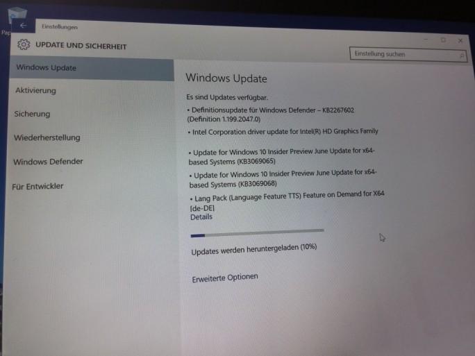 Surface Pro 3 Einstellungen: Update und Sicherheit (Bild: ZDNet.de)