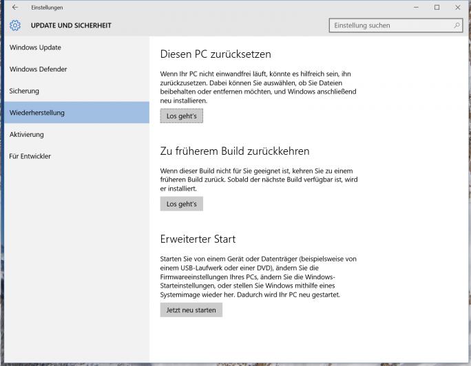 Einstellungen - Update und Sicherheit - Windows 10 zurücksetzen (Screenshot: ZDNet.de)