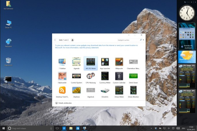 Windows 10: Sidebar-Gadgets lassen sich nachinstallieren (Screenshot: ZDNet.de)