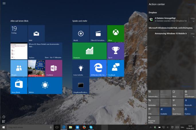 Windows 10: Startscreen Build 10147 (Screenshot: ZDNet.de)