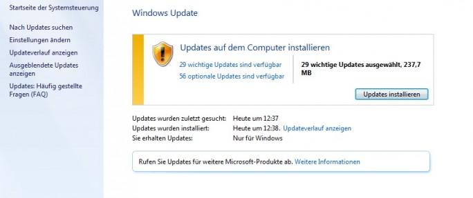 Windows-Update (Screenshot: ZDNet.de)