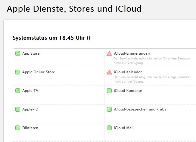 Apple verzeichnet Ausfall einiger iCloud-Dienste (Screenshot: ZDNet.de)
