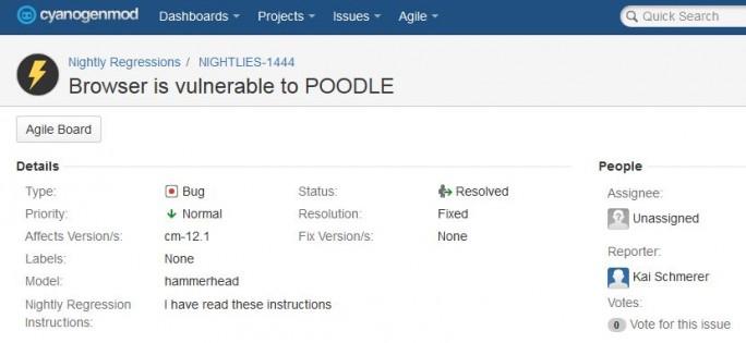 Kurz nachdem ZDNet Cyanogen über die Poodle-Lücke des integrierten Browsers informiert hat, haben die Entwickler die Schwachstelle geschlossen (Screenshot: ZDNet.de).
