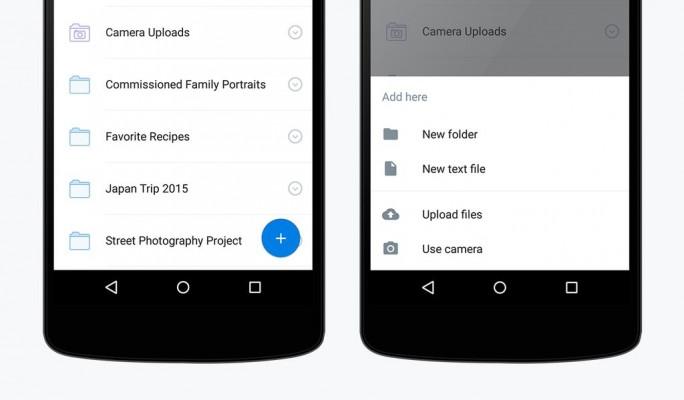Dropbox erlaubt es nun, direkt aus der App heraus und unter Umgehung der Galerie Fotos aufzunehmen und in der Cloud zu speichern (Bild: Dropbox).