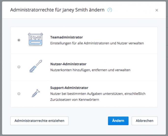 Dropbox für Unternehmen bietet jetzt drei Administratorebenen für unterschiedliche Aufgaben (Bild: Dropbox).