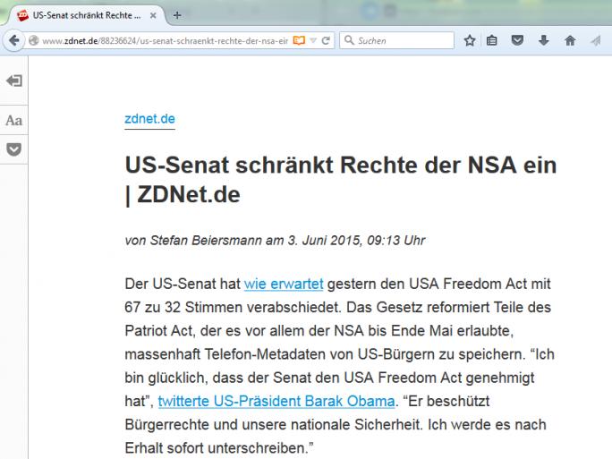 Mozilla hat seinen Browser auch um eine Leseansicht erweitert (Screenshot: ZDNet.de).