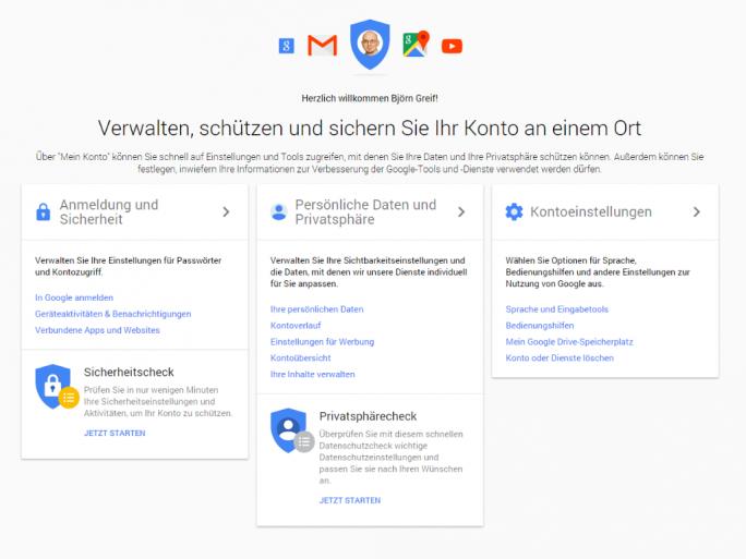 """Unter """"Mein Konto"""" fasst Google jetzt alle Einstellungen zu Privatsphäre und Sicherheit zusammen (Screenshot: ZDNet.de)."""