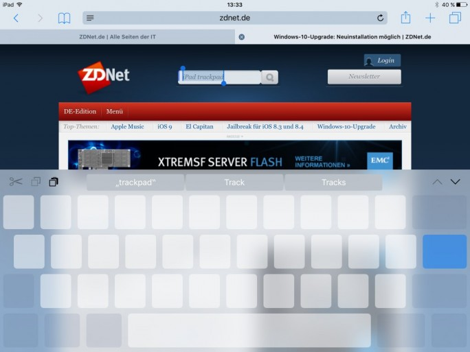 iOS 9: Tastatur-Trackpad (Screenshot: ZDNet.de)