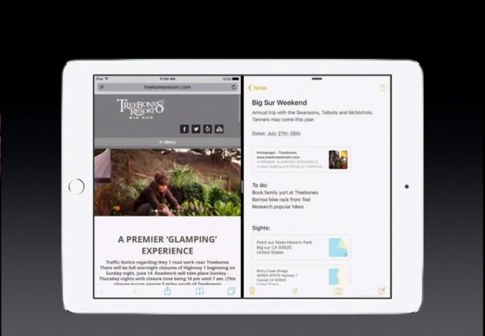 iOS 9: iPad-SplitScreen (Screenshot: ZDNet.de)
